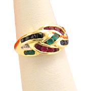 Vintage 14k Gold Ruby Emerald Sapphire Diamond Ring