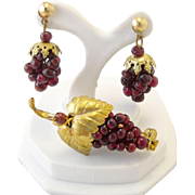 Antique Bohemian Garnet Grape Gold Filled Brooch and Earrings Set
