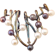 Artisan Vintage Sterling Silver Black and White Pearl Brooch Pendant