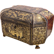 Antique Chinese Export Lacquer Box Tea Caddy 19th Century