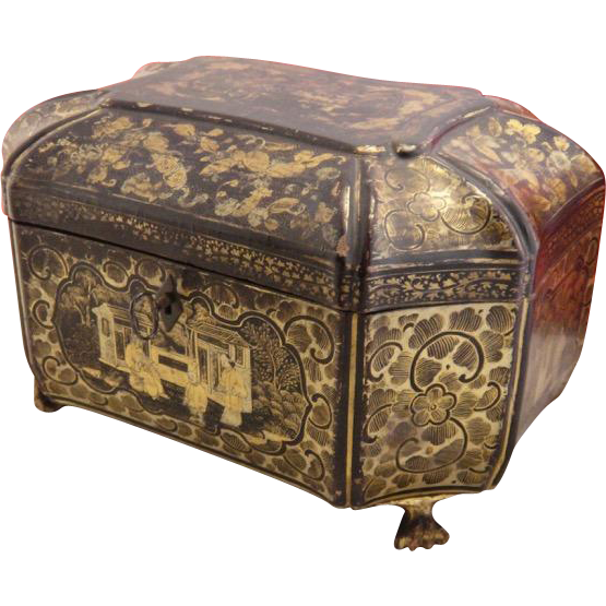 antique chinese export lacquer box tea caddy 19th century from cachetantiques on ruby lane. Black Bedroom Furniture Sets. Home Design Ideas