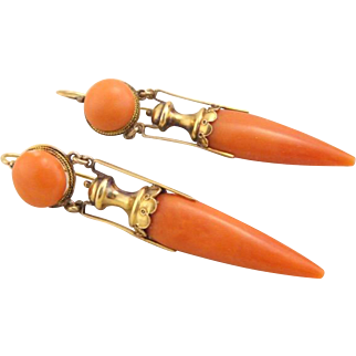 Antique Victorian 15k Gold Etruscan Coral Dangle Urn Earrings