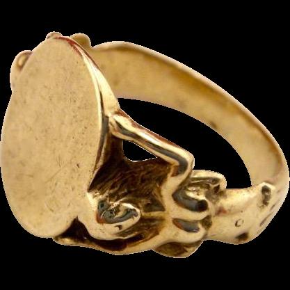 Antique Art Nouveau 10k Gold Figural Signet Ring
