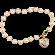 Genuine Pearl Bracelet with Diamond Encrusted 14k Gold Heart