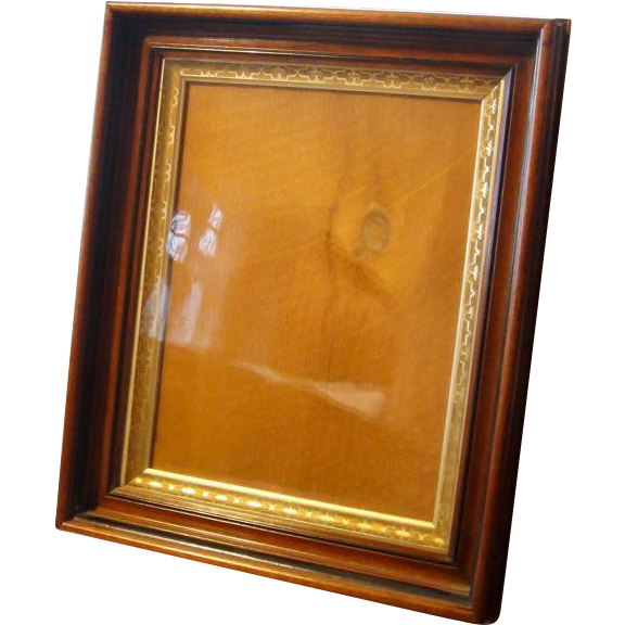 Antique Mahogany Wood Gilded Picture Frame Shadow Box From