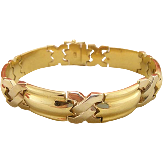 Vintage 18k Yellow Gold Heavy Men's Bracelet