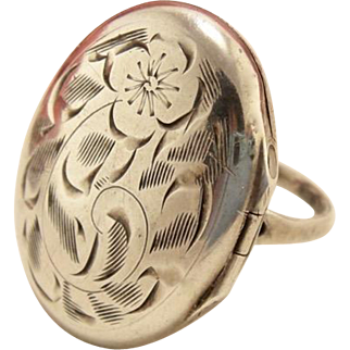 Antique Sterling Silver Engraved Opening Locket Ring
