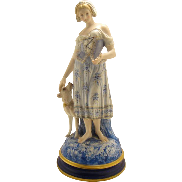 Large Antique French Porcelain Figure of Maiden w Dog and Playing Card