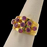 Vintage 14k Gold 5 Band Pink Sapphire Harem Ring