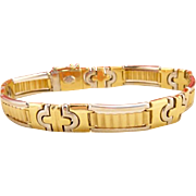 Vintage 18k Gold Yellow and White Heavy Men's Bracelet