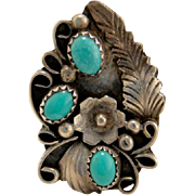 Vintage Sterling Silver Turquoise Navajoe Ring