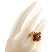 Vintage 10k Gold Retro Garnet Ring