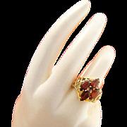 Vintage 10k Gold Retro Garnet Ring