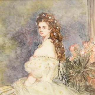 Stunning 19c Watercolor Miniature Portrait Painting Gilt Shadow Frame