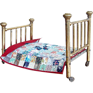 19th Century Antique Brass Bed Salesman Sample Doll Bed