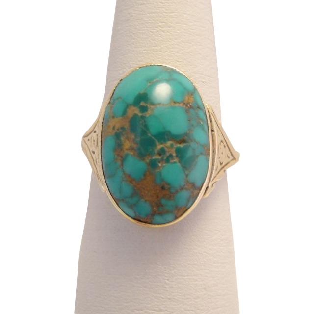 Antique Victorian 14k Gold Natural Cabochon Turquoise Ring
