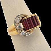 Art Deco 14k Gold Ruby Diamond Buckle Ring