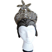 Vintage GATSBY Flapper Deco 1920s  Edwardian Metallic Headdress Hat