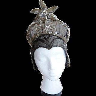 Vintage GATSBY Flapper Deco 1920s  Edwardian Metallic Headdress Hat