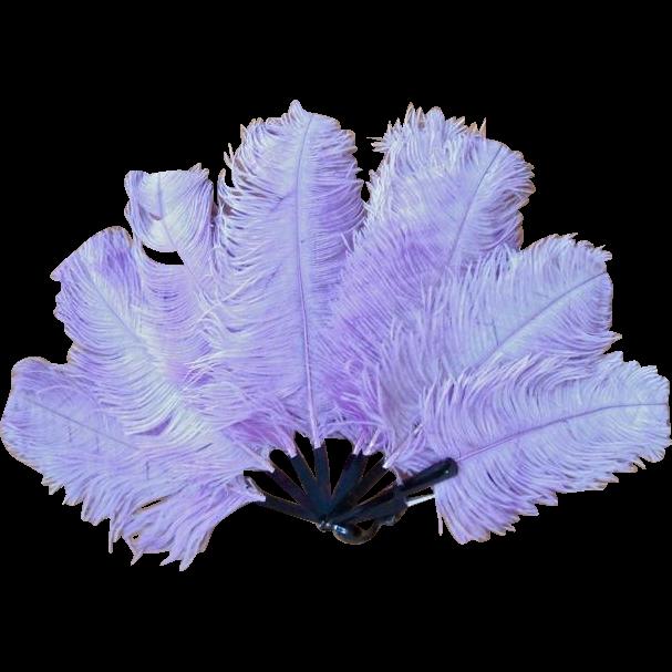 Antique Art Deco Flapper Lavender Ostrich Feather Plume Fan Shell