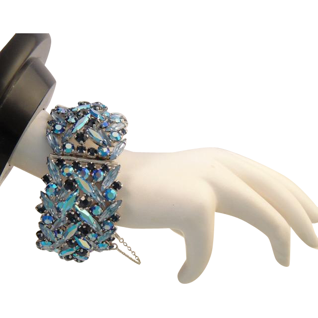 Sherman Tiered Wide Hinged Cuff Rhinestone Bracelet in Blue