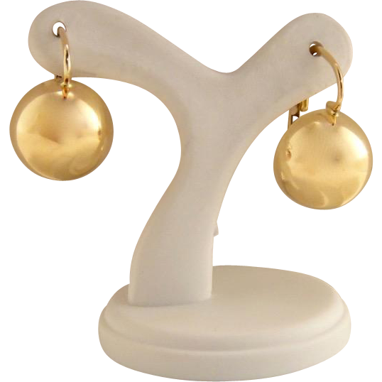 18k Gold Classic Ball Round Pierced Lever Back Earrings