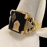 Vintage Art Deco 10k Gold Freemason Mason Masonic Onyx Diamond Ring