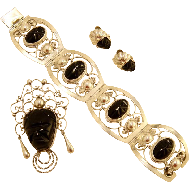 Vintage Mexican Onyx Sterling Set Bracelet Brooch Earrings