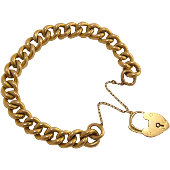 Antique Heavy 9k 9ct Gold Heart Padlock Bracelet