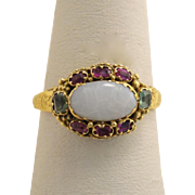 Georgian Opal Ruby and Emerald 15kt Gold Ring