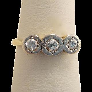 Art Deco 14k Gold 3-Stone Diamond Ring Engagement 1920s-30s