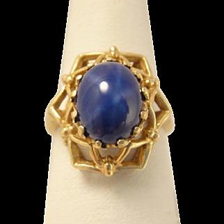 Vintage Retro 10k Gold Blue Star Sapphire Ring