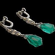 Art Deco Sterling Dangle Tourmaline Crystal Drop Earrings