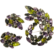 Sherman Rhinestone Purple and Green Brooch and Earrings Set
