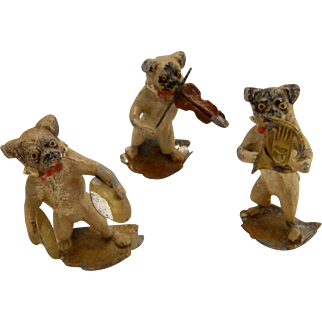 Antique Trio Austrian Cold Painted Pug Dogs Playing Instruments