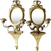 Elegant Antique French Carved Wood and Tole Candle Mirror Sconce Candelabra Pair