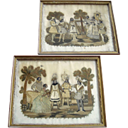 Antique Pair Georgian Silk Needlework Embroidery Pictures c1790 - 1800  Silkwork