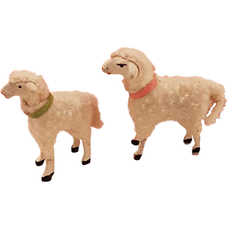 Antique Pair German Putz Wooly Sheep Lambs