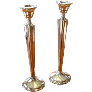 Art Deco Sterling Silver Fluted Candlesticks