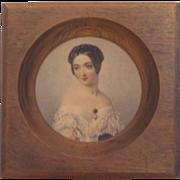 Vintage Portrait Victorian Women in Wood Frame