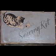 Vintage Circa 1940's Kitten Sewing Set ADORABLE!