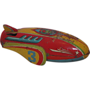 Vintage Circa 1930's Metal Toy Rocket Ship