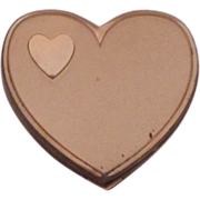 Vintage Metal Heart Shaped Compact