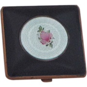 Vintage Guilloche Floral Enamel Compact Marked Clarice Jane