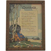 Vintage Framed Mother's Day Plaque Circa 1930's
