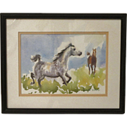 Artist Original Watercolor Painting of Horses