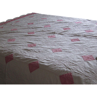 Vintage Pink and White Cotton Quilt