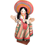 Vintage Cloth Handmade Mexican Doll