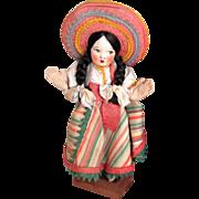 Vintage Cloth Handmade Mexican Doll