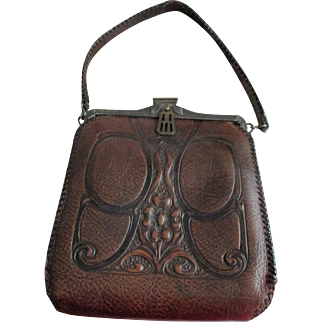 Antique Hand Tooled Arts and Crafts Leather Purse